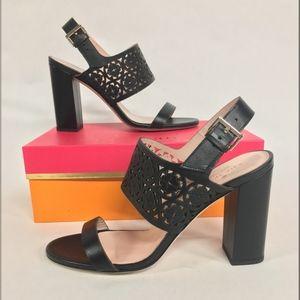 KATE SPADE Imani Laser Cut Leather Heels Sandals